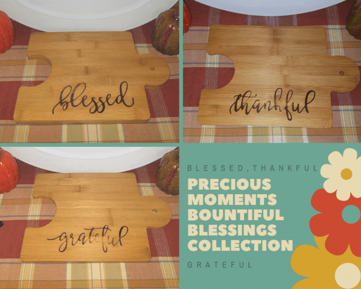 Grateful Thankful and Blessed Puzzle Piece Bamboo Cutting Board Set